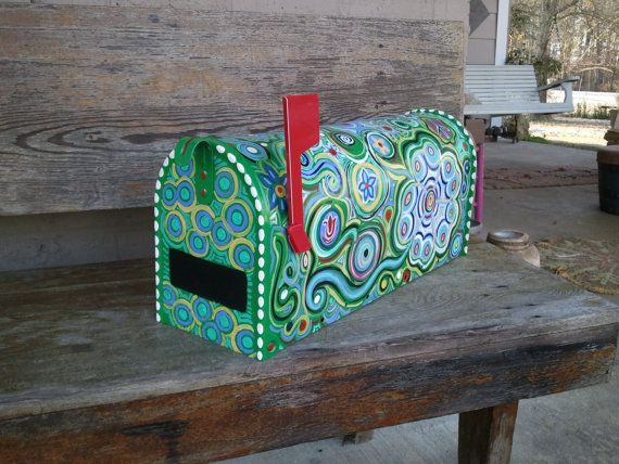 Fun Funky Painted Mailbox by mizippihippi on Etsy | Painted .