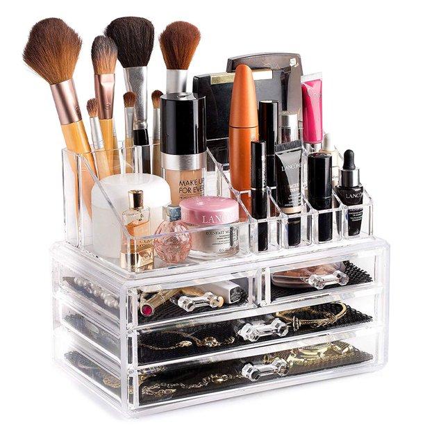 SveBake Makeup Organizer, Acrylic Vanity Makeup Cosmetic Organizer .
