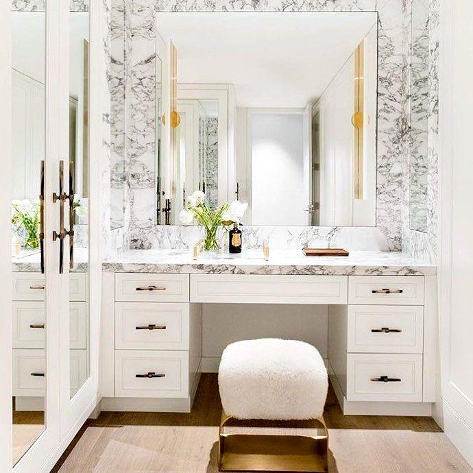 marble and gold bathroom makeup vanity | luxury vanity design .