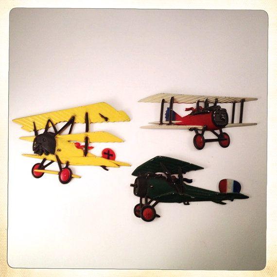 Vintage metal airplane wall decor Homco | Etsy | Airplane wall .