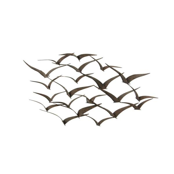 Litton Lane 47 in. x 26 in. Brown Iron Flying Birds Wall Decor .