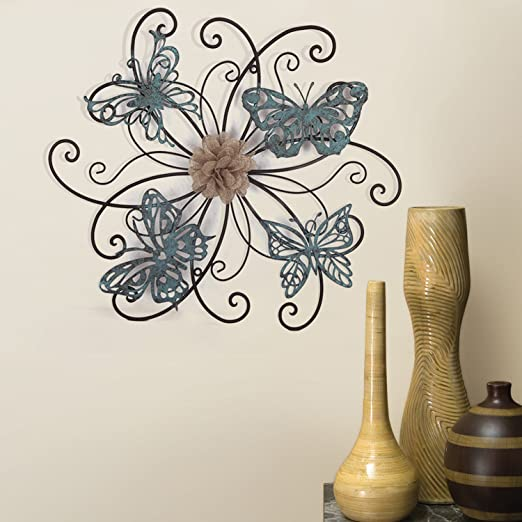 Amazon.com: Asense Home Decorative Fabric Metal Butterfly Wall .