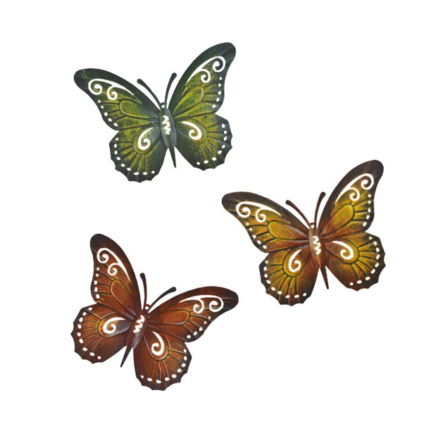 Metal Butterfly Wall Decor - Colored Metal Butterflies, Set of .