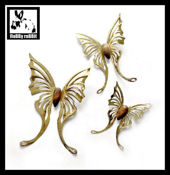 Brass Butterflies Wall Decor Vintage Gold Metal Butterfly | Etsy .