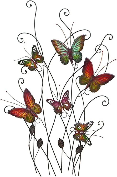 Amazon.com: Large Colorful Butterflies Outdoor Metal Wall Decor .