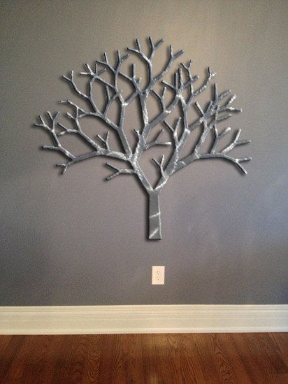 Tree Metal Wall Art - Silver Wall Decor - Tree Art - Metal Art .