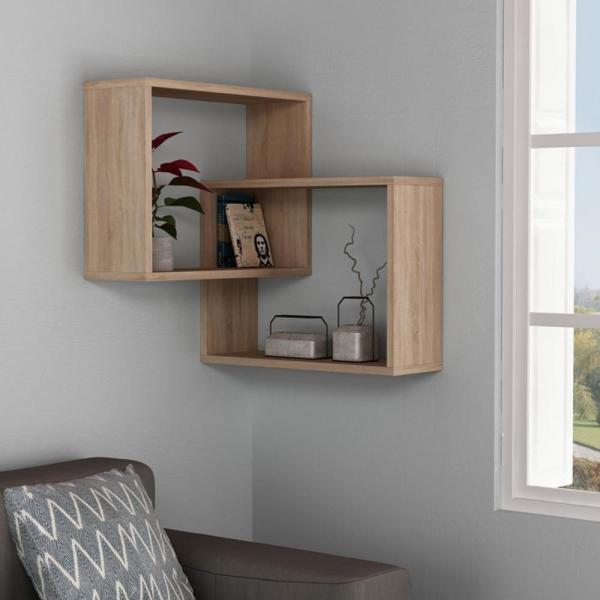 Ada Home Decor Warner Oak Mid-Century Modern Wall Shelf-DCRW2184 .