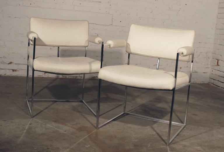 Milo Baughman 1188 White Dining Chairs at 1stDi