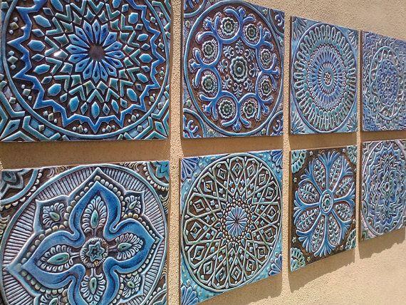 Moroccan decor, Set of 4 Moroccan tiles, Moroccan wall art .