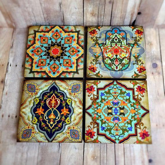 Moroccan Wall art Set hamsa Block Set of 4 Hamsa wall art set .
