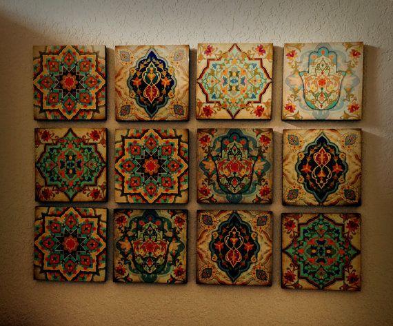 Hamsa Hand Moroccan Wall art Set wall Blocks 8x8 Set of by Ajobe