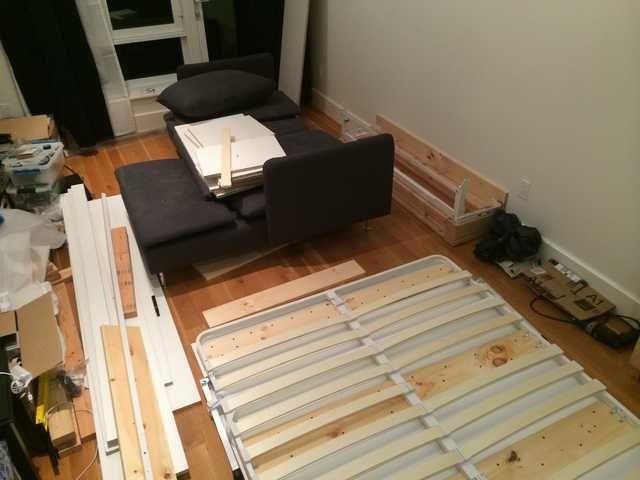DIY Wall Bed/Sofa/Cabinet/Shelf Combo - Imgur in 2020 | Diy bed .