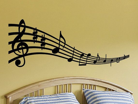 Pin by Pinja on y in 2020 | Music notes wall art, Music wall decal .