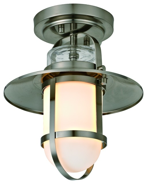 Miles 1-Light Nautical Outdoor Flush Mount with Frosted Glass .