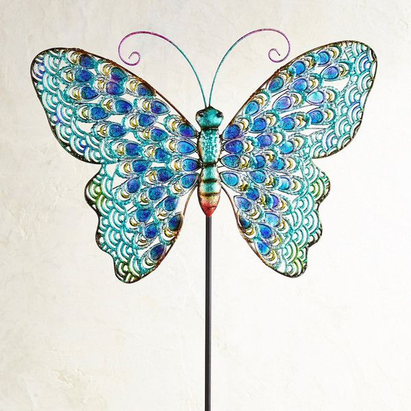 Pier 1 Imports Big Butterfly Metal Garden Stake ($40) ❤ liked on .