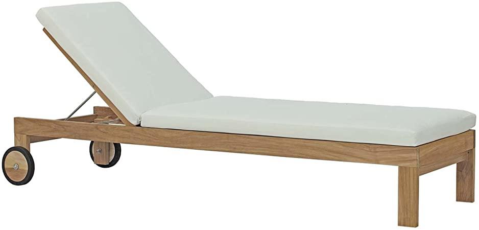 Amazon.com : Modway Upland Teak Wood Outdoor Patio Chaise Lounge .