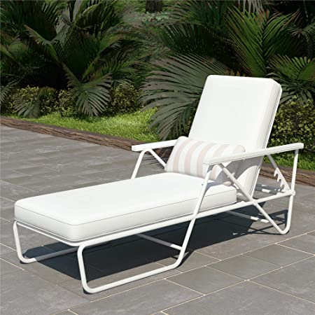 Amazon.com : Novogratz 88063WHT1E Poolside Connie Outdoor Chaise .