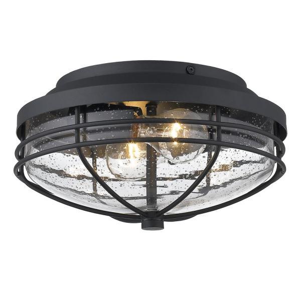 Golden Lighting Seaport 2-Light Black Outdoor Flush Mount Light .