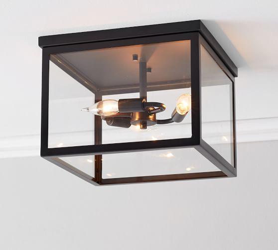 Manor Glass & Iron Flush Mount | Pottery Ba