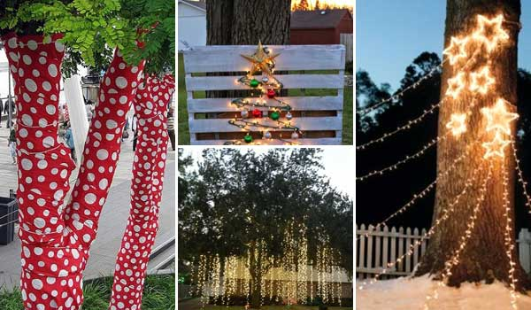 10 Cool Ideas to Decorate Garden or Yard Trees for Christmas .