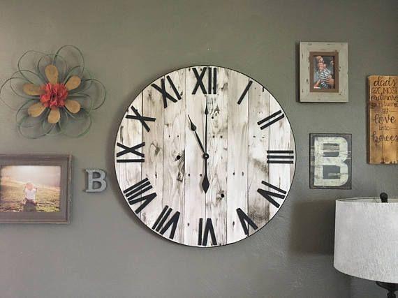 30 Large White Farmhouse Pallet Clock Oversized Wooden | Etsy .
