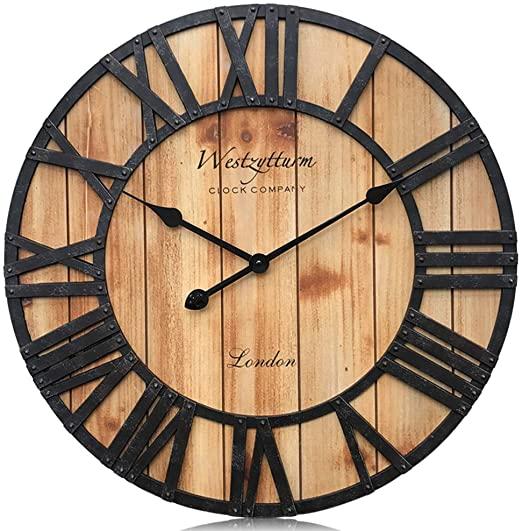 Amazon.com: Westzytturm Extra Large Wall Clock Wood Rustic .