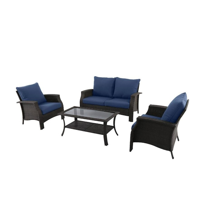 Style Selections 4-Piece Metal Frame Patio Conversation Set with .