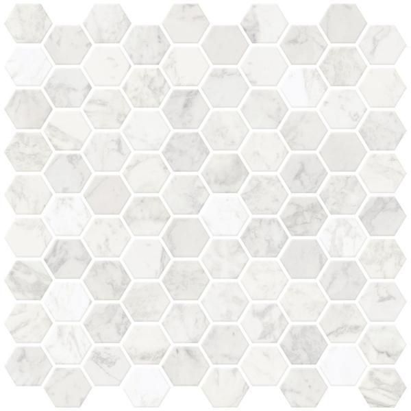 Wall Pops White Hexagon Marble Peel Stick Backsplash Tiles-NH2359 .