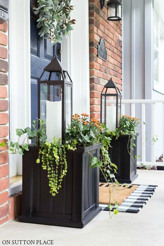 Fall Planter Idea: Lanterns & Mums | On Sutton Place | Front porch .
