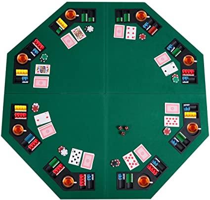 """Amazon.com : Giantex 48"""" Folding Poker Table Top Green Octagon 8 ."""