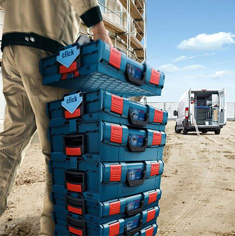 Bosch's Modular Portable Tool Storage System | Stackable storage .