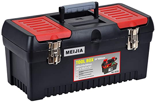 MEIJIA Portable Tool Storage Box, Organizers With Mental Latches .