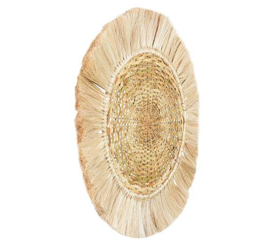 "Sage Woven Rattan Round Wall Art, 28""   Pottery Ba"