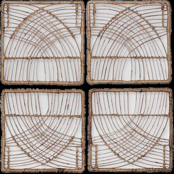 """Rattan Wicker Wall Art Set (14""""x14"""") 4pc - Natural - Threshold ."""