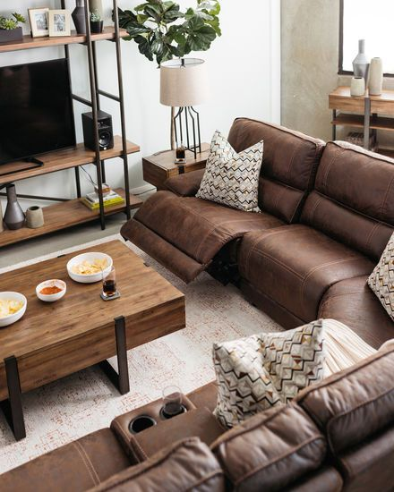 Six-Piece Traditional Reclining Sectional in Cognac | Leather .