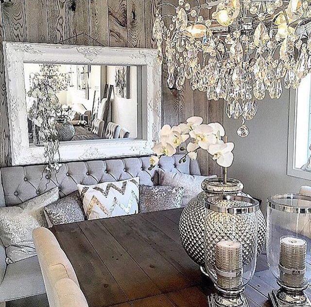 Grey rustic glam … | Glam living room, Home decor, Living room dec