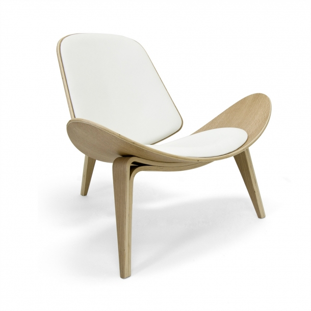 Ch07 Shell Chair - Oak / White Leather (CH9103-WhtOak-WhtLeather .