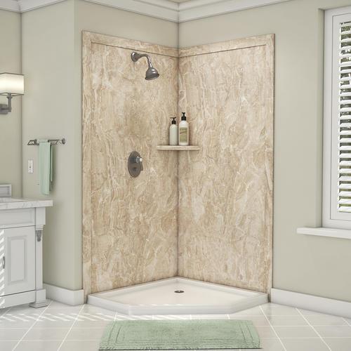 "FlexStone Splendor 40""W x 40""D x 80""H Corner Shower Wall Surround ."
