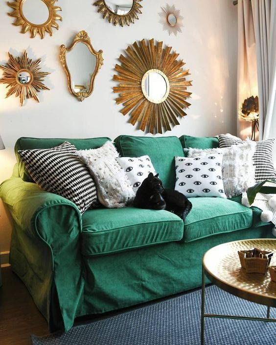 Comfort Works' Rouge Emerald velvet sofa slipcovers for IKEA .