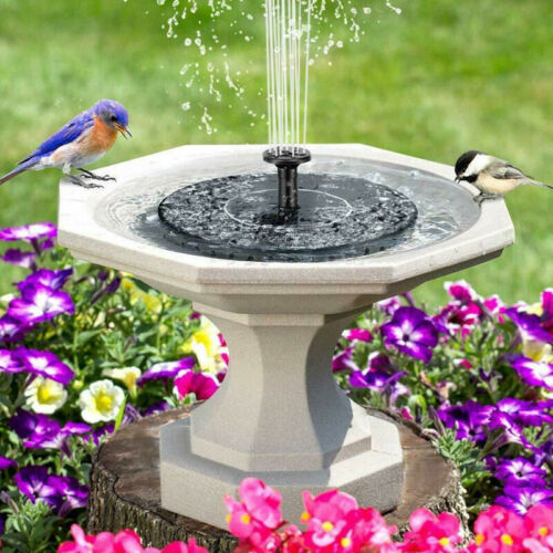 Bird Bath Fountain Solar Powered Water Pump Floating Outdoor Pond .