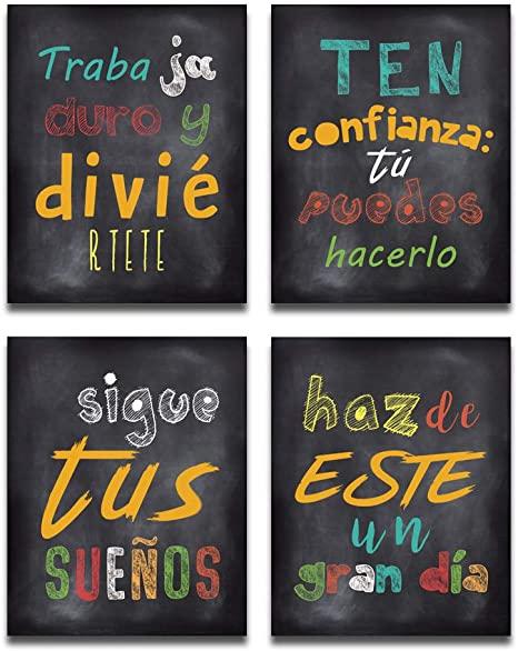 "Amazon.com: HPNIUB Spanish Wall Art Prints, Set of 4 (8""X10 ."