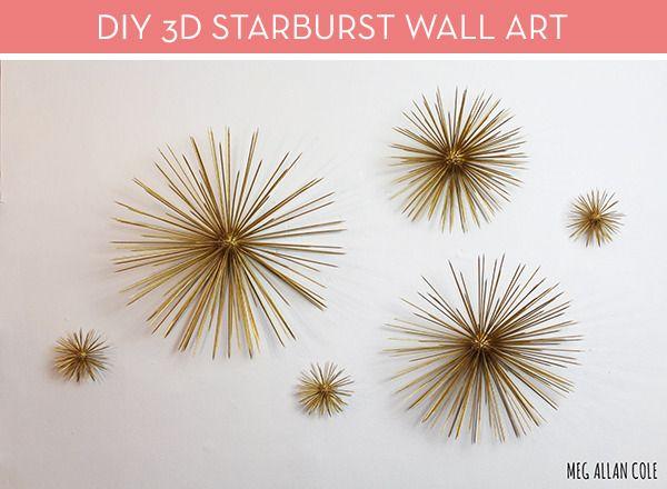 Make It: DIY Mid-Century Modern 3D Starburst Wall Art | Starburst .