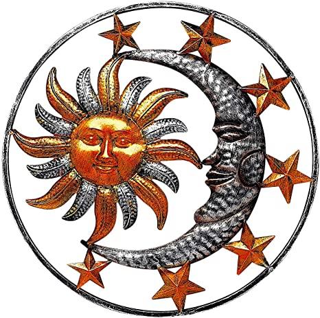 Amazon.com: Large Metal Sun Moon Star Wall Art Sculpture Decor for .