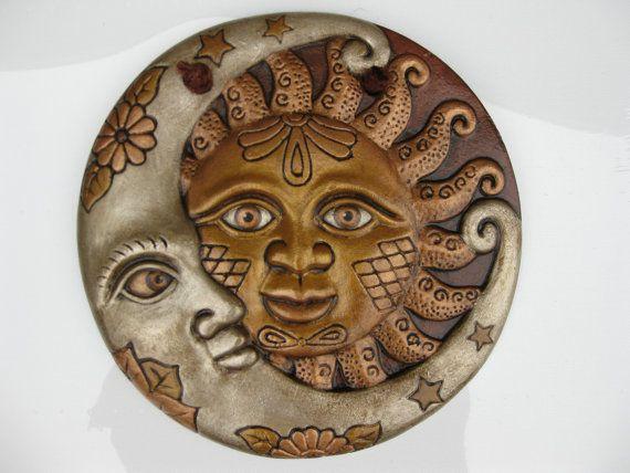 Decorative Sun & Moon Wall Hanging, Home Decor | Sun art, Ceramic .
