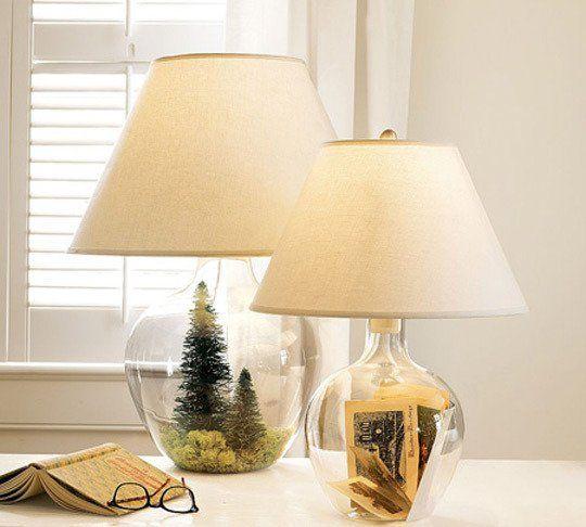 7 Fillable Glass Lamp Ideas - iD Lights   Glass jar lamps, Glass .
