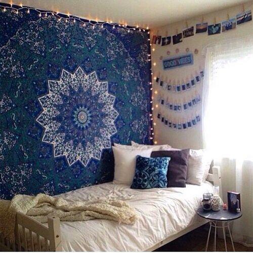 tapestry & lights idea | Room tapestry, Dorm room essentials, Dorm .