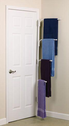 Bathroom Storage Ideas : including this multiple-tiered towel rack .