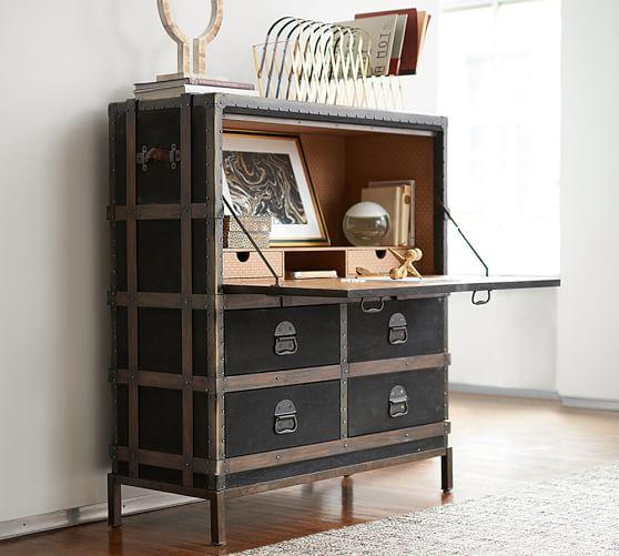 Ludlow Trunk Secretary Desk, Office Desk | Pottery Ba