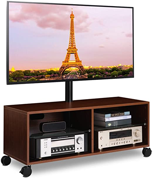 Amazon.com: 5Rcom Rolling Wood Entertainment Center TV Stand .