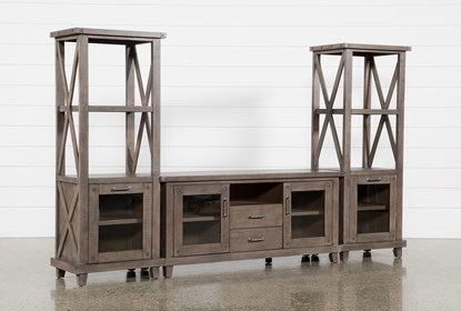 Jaxon Grey 3 Piece Entertainment Center With 68 Inch TV Stand .